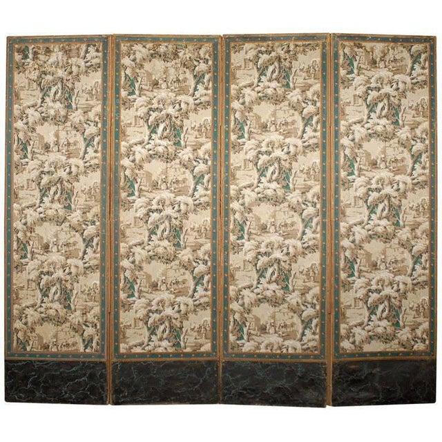 French 19th Century Zuber Style Four-Panel Paper on Canvas Screen For Sale - Image 11 of 11