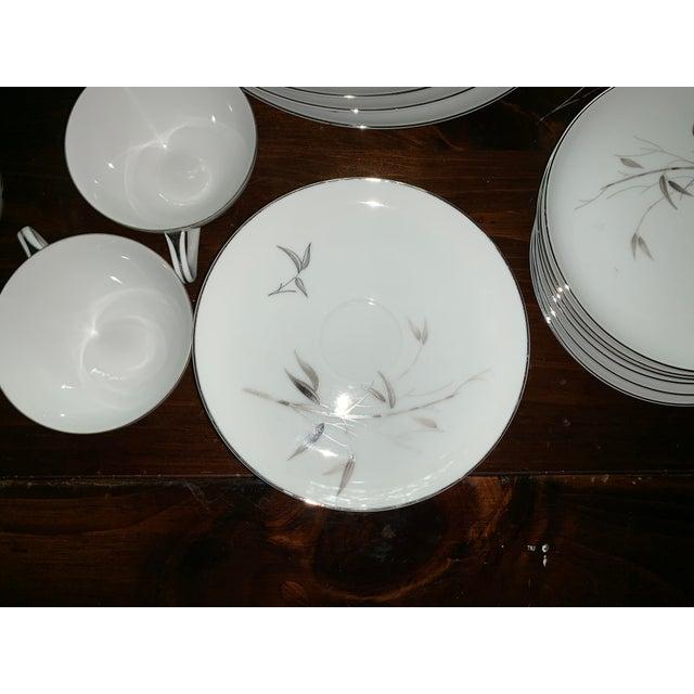 Platinum Sango Bamboo Knight Grey Bamboo Platinum Trim-Partial Dinnerware Set - 41 Plates, Reduced For Sale - Image 8 of 12
