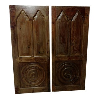 Antique Anglo Indian Teak Wood Window Shutters - a Pair For Sale