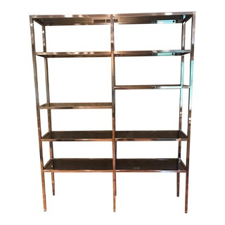 Milo Baughman Style Chrome & Smoke Glass Etagere/Display Shelving For Sale