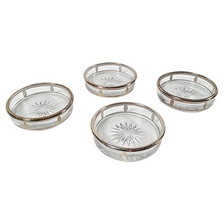 Crystal and Silver-Plate Coasters, S/4 For Sale