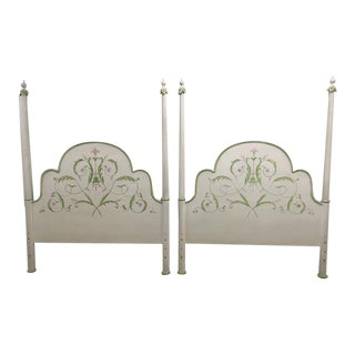 Palm Beach Style Queen Painted Wood Headboards - a Pair For Sale