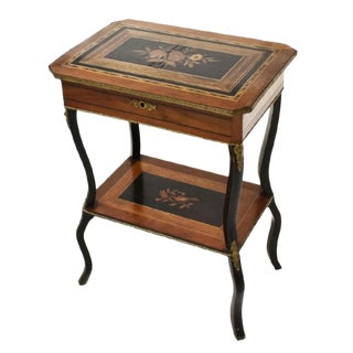 19th Century French Napoleon III Period Marquetry Inlaid Sewing Work Table For Sale