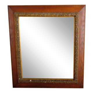 1900's Antique French Napoleon Style Oak and Brass Wall Mirror For Sale