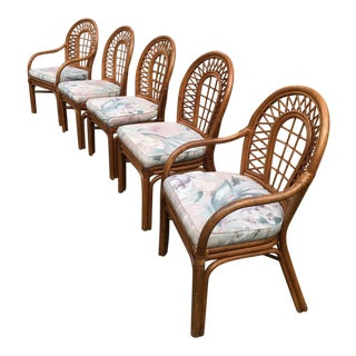 Vintage Ficks Reed Rattan Chairs - Set of 5 For Sale