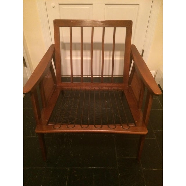 Mid-Century Modern Mid-Century Low-Slung Wood Arm Chair For Sale - Image 3 of 11