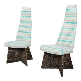 Adrian Pearsall Mid-Century Brutalist High Back Side Chairs, Pair For Sale