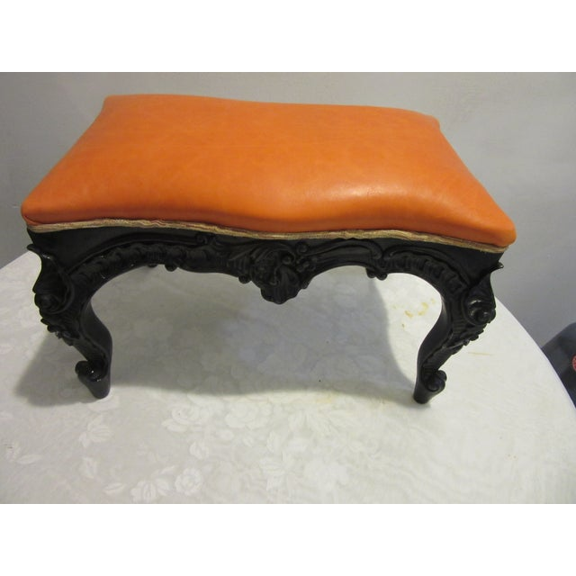 Hollywood Regency 1970s Vintage Modified Lacquered Mahogany Footstool For Sale - Image 3 of 7