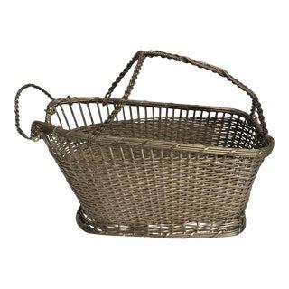 1960s French Basket Weave Silver Plate Wine Bottle Holder For Sale