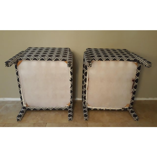 Mid Century Parsons Op Art Crossed Rope Design Black & White Upholstered Club Chairs - a Pair For Sale In Miami - Image 6 of 12