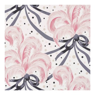 Schumacher X Paul Poiret Plumes Et Rubans Wallpaper in Blush For Sale