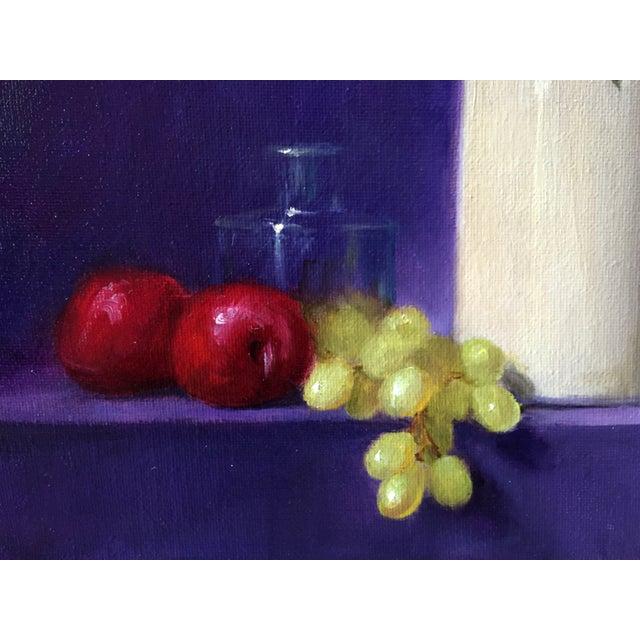 Yellow & Purple Still Life Oil Painting - Image 3 of 3
