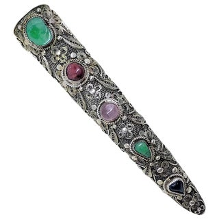 1930s Chinese Sterling Silver and Jade Nail Cover Brooch For Sale