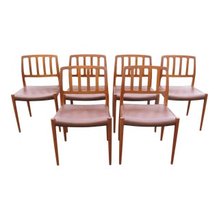1970s Vintage Danish Modern Teak Moller 83 Dining Chairs- Set of 6 For Sale