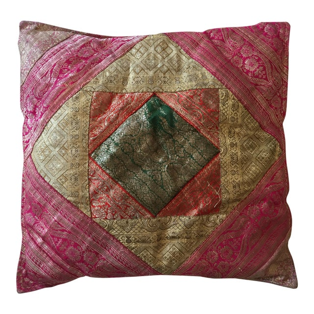 Vintage Indian Sari Quilt Pillow - Image 1 of 3