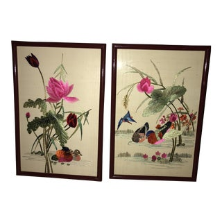 Needlepoint Hand Worked Asian Pre-War Wall Art - A Pair