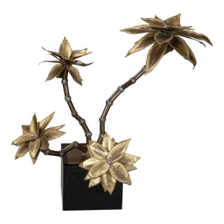 Maison Jansen Style Mid-Century Brass Metal Flower Sculpture For Sale