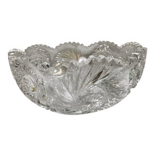1950s Traditional Crystal Saw Tooth Cut Bowl For Sale