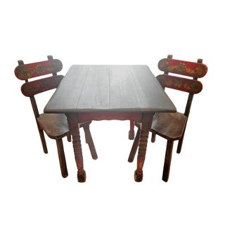 Vintage 1930's Monterey Table and Matching Chair Set For Sale