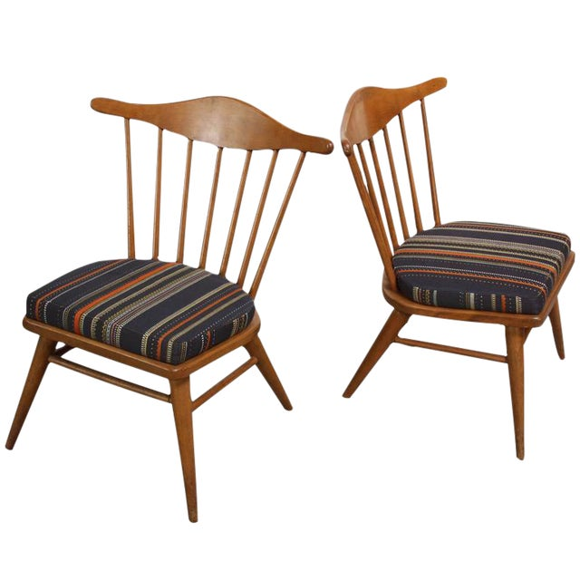 1950s Russel Wright for Conant Ball Spindle Back Accent Chairs - A Pair For Sale