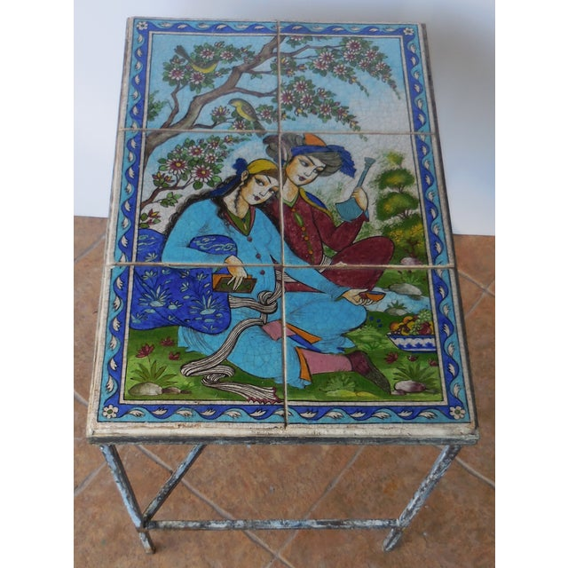 Vintage Persian Tile Coffee Table - Image 9 of 11