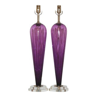 Joe Cariati Glass Table Lamps Purple For Sale