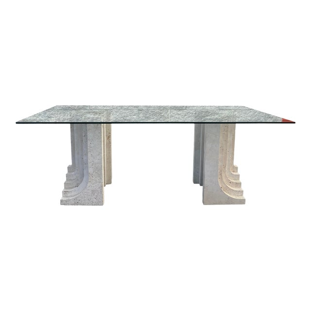 Tobia Scarpa Style Italian Travertine and Glass Dining Table For Sale