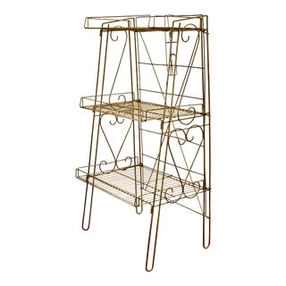 Industrial Mid Century Modern Gold Wire/Metal Shelf Rack For Sale