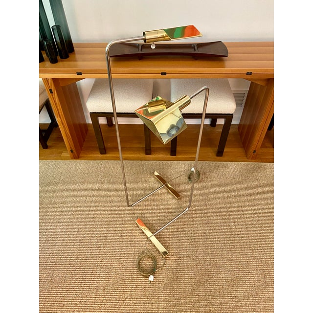 Contemporary Cedric Hartman Brass / Stainless Steel Height Adjustable / Swivel Floor Lamps - Set of 2 For Sale - Image 3 of 13