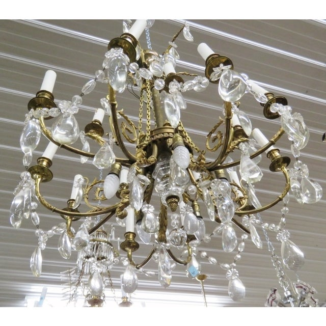 French Style Bronze & Crystal Chandelier - Image 3 of 4