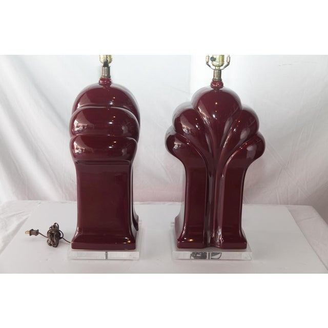 1980's Burgundy Polished Scalloped Lamps - A Pair For Sale - Image 4 of 6