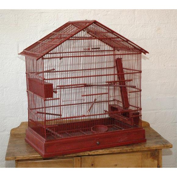 Large Wire & Wood Birdcage For Sale - Image 4 of 9