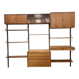 Vintage Mid Century Danish Teak Modular Wall System For Sale
