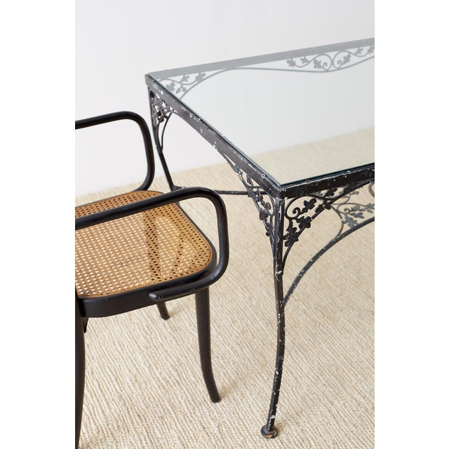 Salterini Style Wrought Iron Patio Garden Table For Sale - Image 12 of 13
