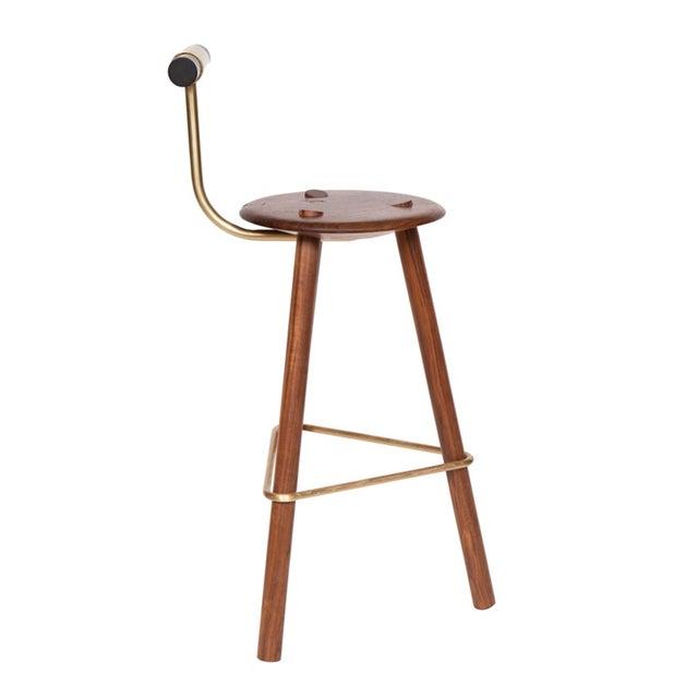 Mid-Century Modern Customizable Erickson Aesthetics Set of Three Walnut Stools For Sale - Image 3 of 5