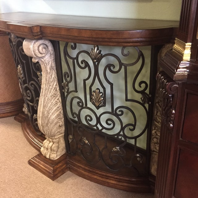 Metal & Stone Leather Top Console - Image 6 of 7