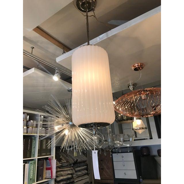 Visual Comfort Design. White glass fluted pendant. Ceiling light.
