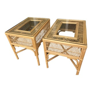 Vintage Rattan & Bamboo End Tables- a Pair For Sale