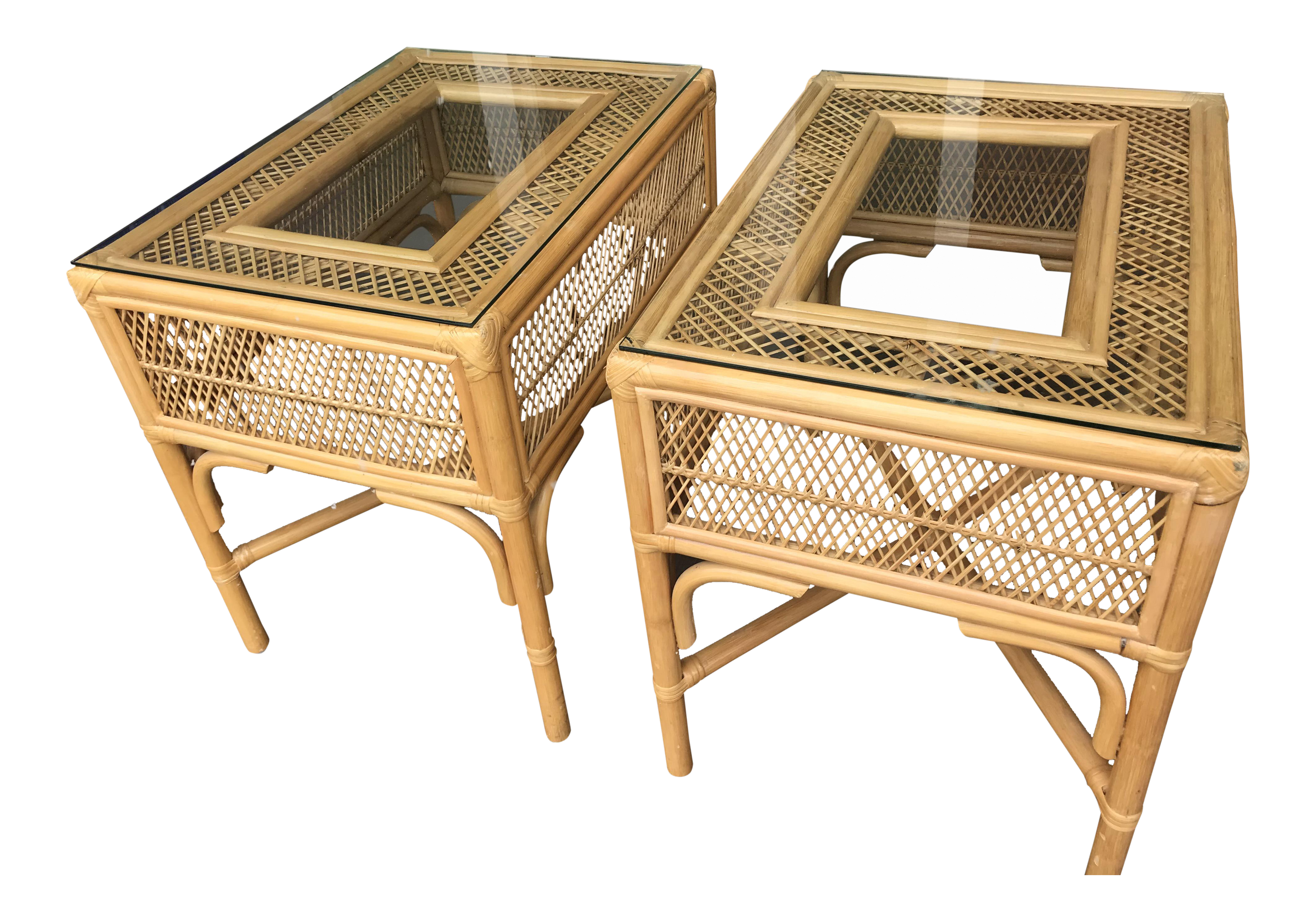 Vintage Rattan U0026 Bamboo End Tables  A Pair