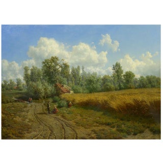"""Summer Landscape"" Oil on Canvas Painting by Jean-Baptiste Kindermans (Belgian, 1822-76) For Sale"