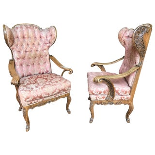 Pair of Wing Chairs, Baroque Style For Sale
