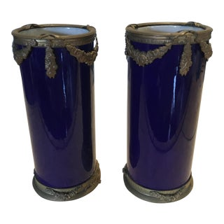 Late 19th Century Antique Sevres French Cobalt and Bronze Vases - A Pair