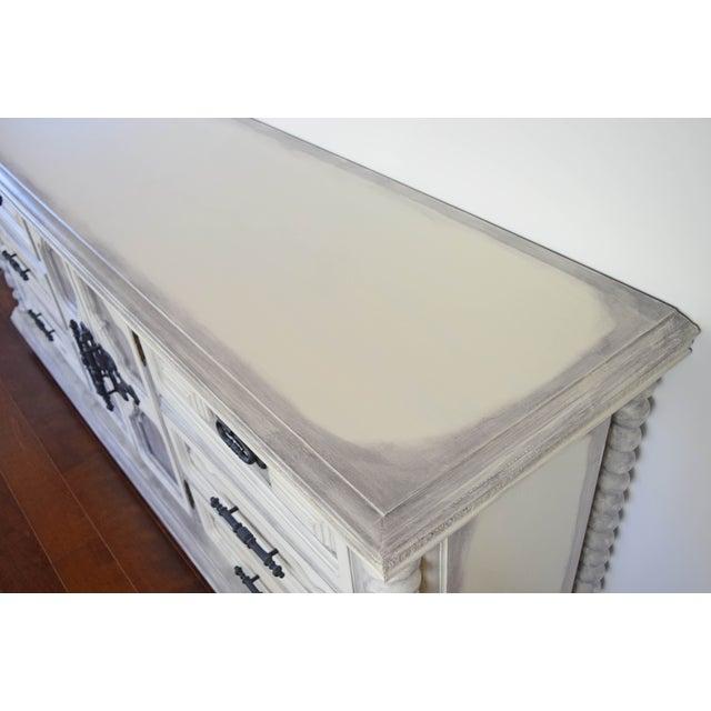 Mediterranean Spanish Style White Wash Dresser For Sale - Image 3 of 11