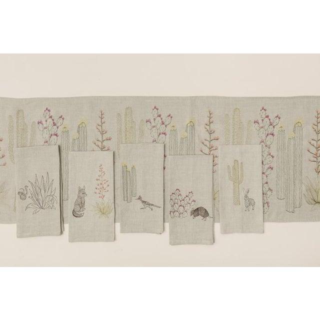 Linen Roadrunner and Organ Pipe Cacti Tea Towel For Sale - Image 7 of 9