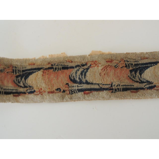 Antique Blue and Orange Tapestry Decorative Trim For Sale In Miami - Image 6 of 7