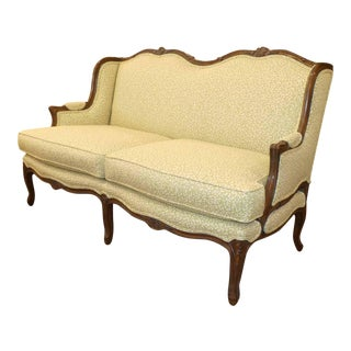 French Louis XV Winged Love Seat With Robert Allen Upholstery For Sale