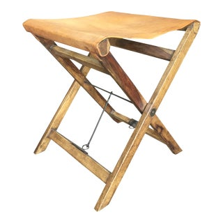 Vintage Vegetable Tan Leather and Wood Folding Sling Camp Stool For Sale