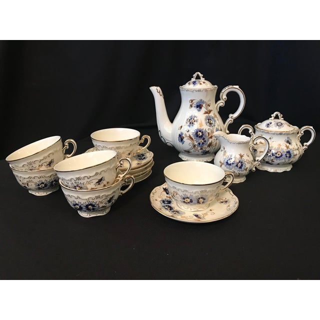 Metal Vintage Zsolnay Hand Painted Porcelain Coffee Set of 15 For Sale - Image 7 of 7