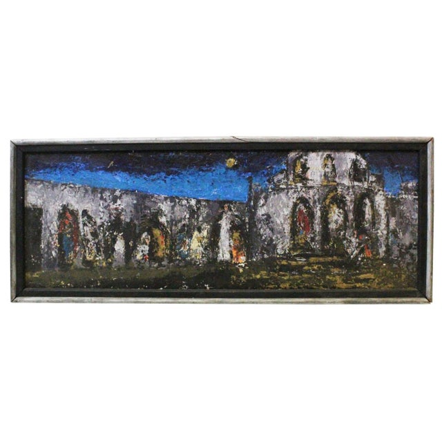 Blue Vintage Mid-Century Kenneth Forman Village at Evening Painting For Sale - Image 8 of 8