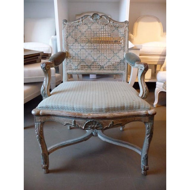 18th Century Painted Cane-Back Armchair For Sale - Image 10 of 11